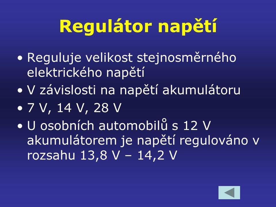 Princip funkce alternátoru Asynchronní elektromotor Vynutí rotoru připojíme ke stejnosměrnému napětí Kolem otáčejícího se rotoru vzniká časově proměnné (nestacionární) magnetické pole Působením magnetického pole se ve vinutí statoru indukuje střídavé elektrické napětí Střídavý elektrický proud je usměrněn v usměrňovači Velikost usměrněného napětí je regulována regulátorem napětí