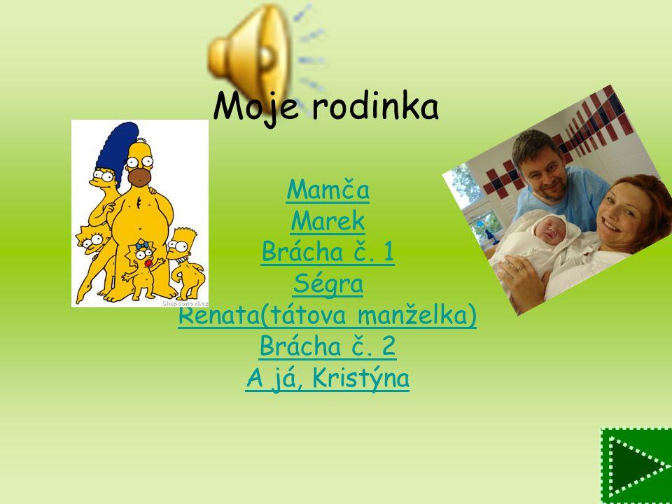 Moje rodinka Mamča Marek Brácha č. 1 Ségra Renata(tátova manželka) Brácha č. 2 A já, Kristýna