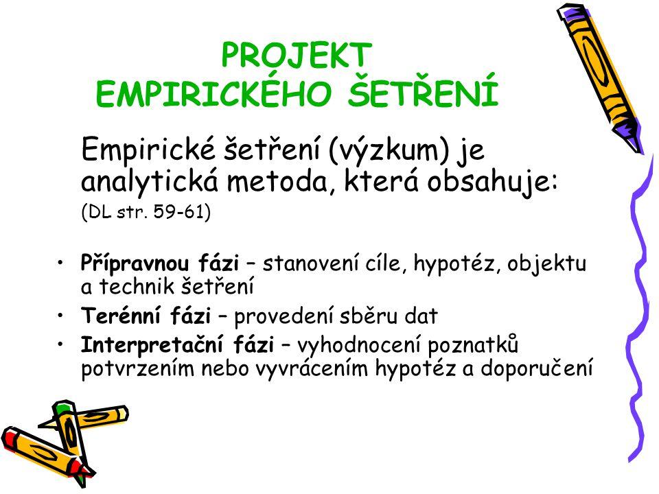 PROJEKT EMPIRICKÉHO ŠETŘENÍ Empirické šetření (výzkum) je analytická metoda, která obsahuje: (DL str.
