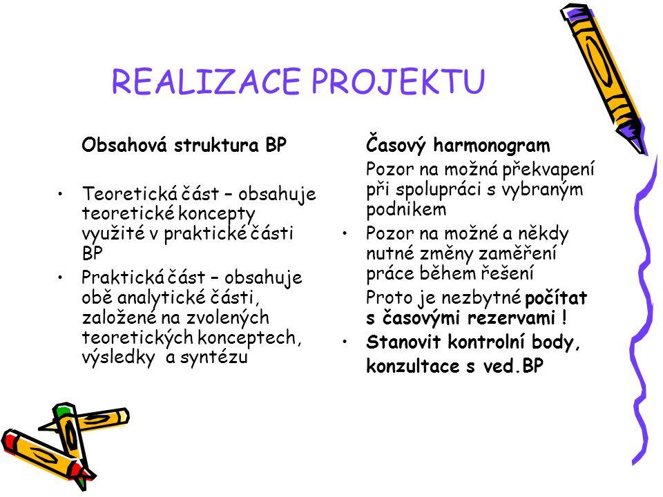 REALIZACE PROJEKTU Obsahová struktura BP Teoretická část – obsahuje teoretické koncepty využité v praktické části BP Praktická část – obsahuje obě ana