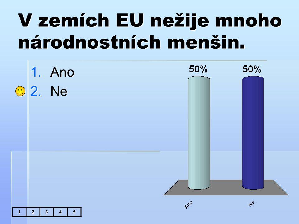 V zemích EU nežije mnoho národnostních menšin. 1.Ano 2.Ne 12345