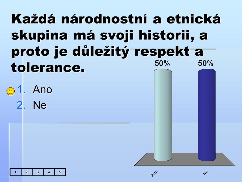 Každá národnostní a etnická skupina má svoji historii, a proto je důležitý respekt a tolerance.