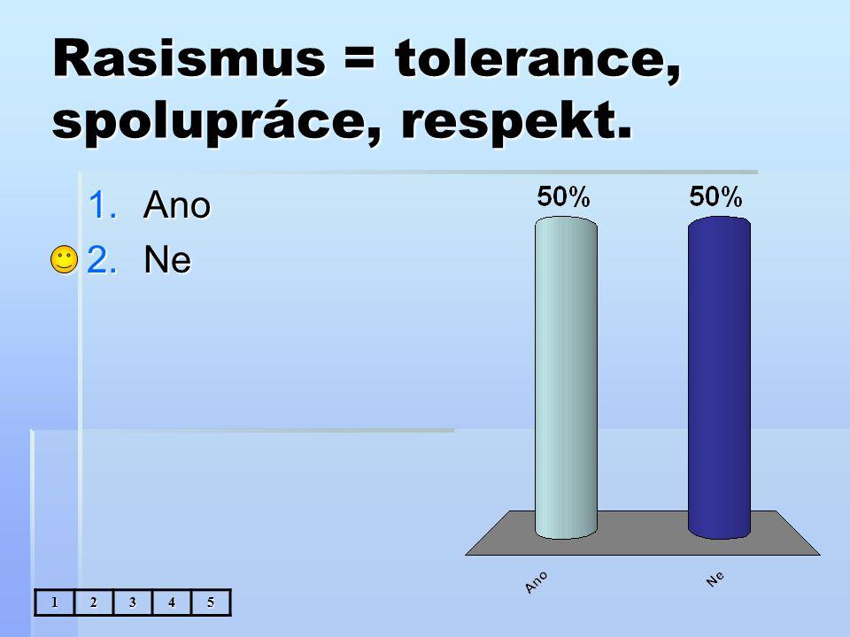 Rasismus = tolerance, spolupráce, respekt. 1.Ano 2.Ne 12345
