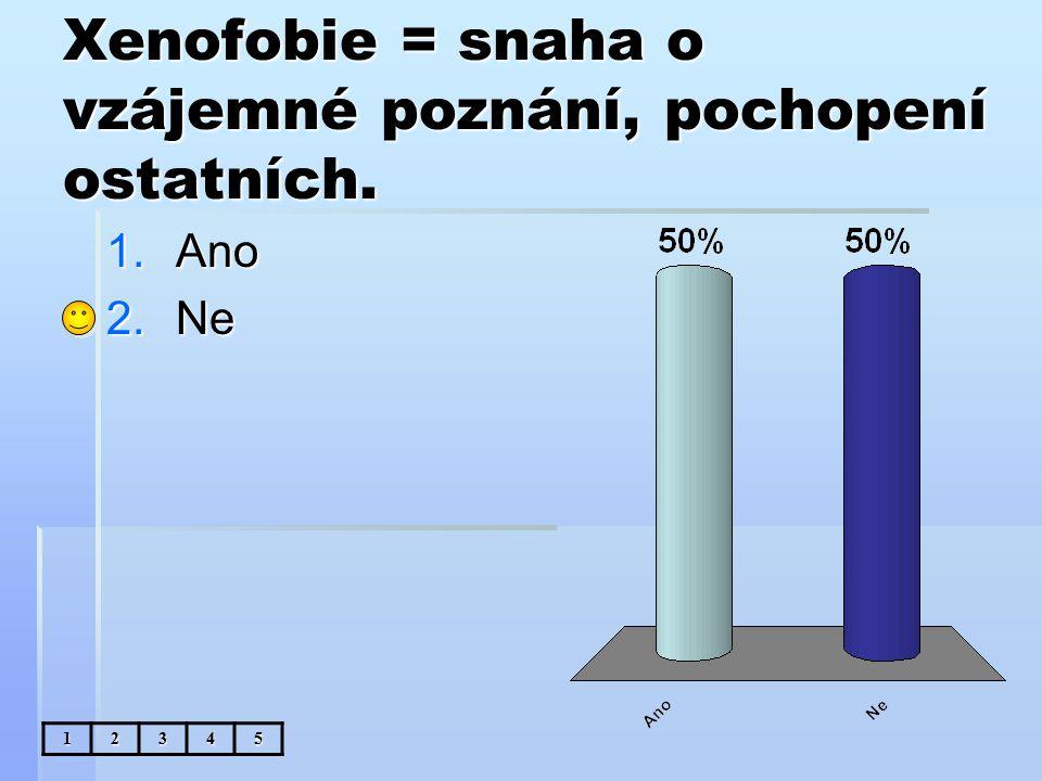 Xenofobie = snaha o vzájemné poznání, pochopení ostatních. 1.Ano 2.Ne 12345