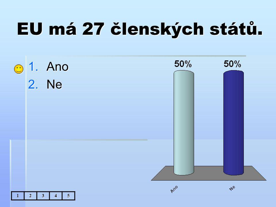 EU má 27 členských států. 1.Ano 2.Ne 12345