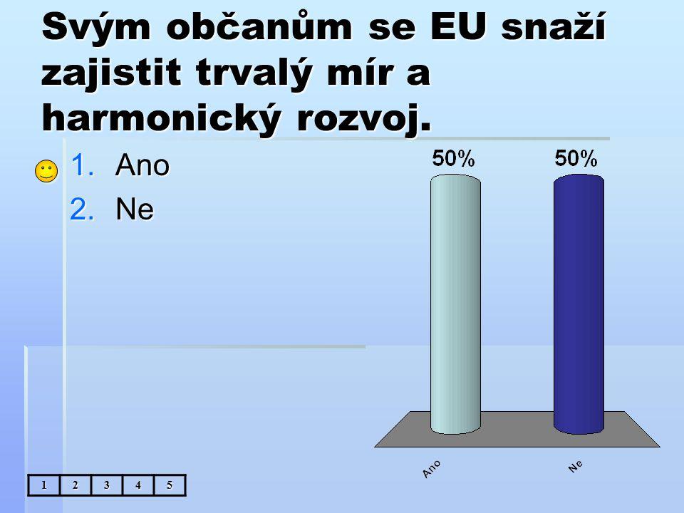 Svým občanům se EU snaží zajistit trvalý mír a harmonický rozvoj. 1.Ano 2.Ne 12345