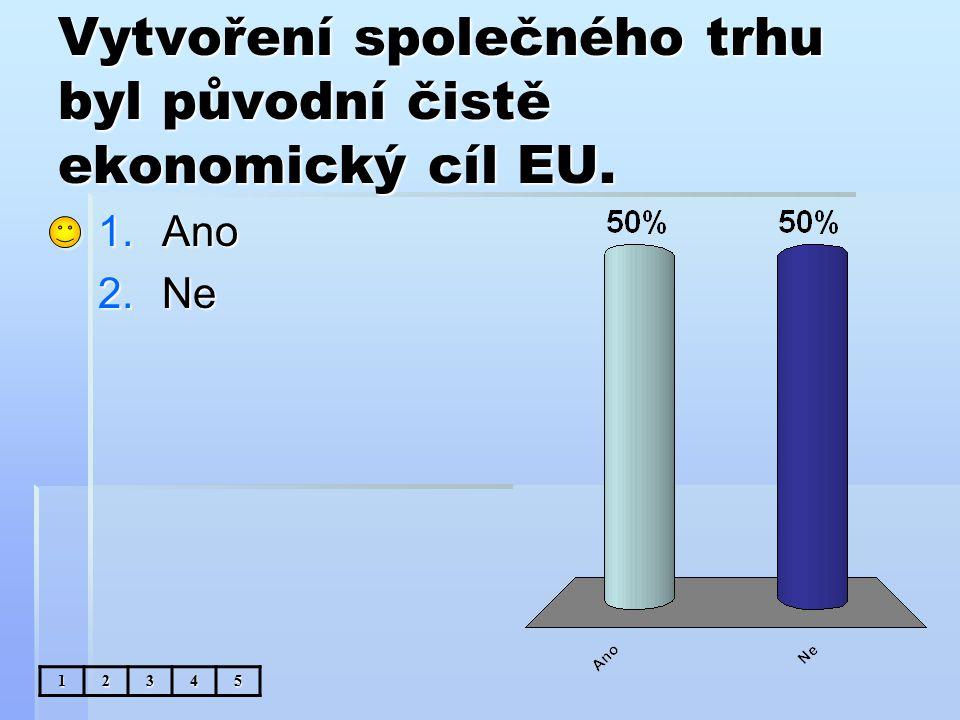 Vytvoření společného trhu byl původní čistě ekonomický cíl EU. 1.Ano 2.Ne 12345