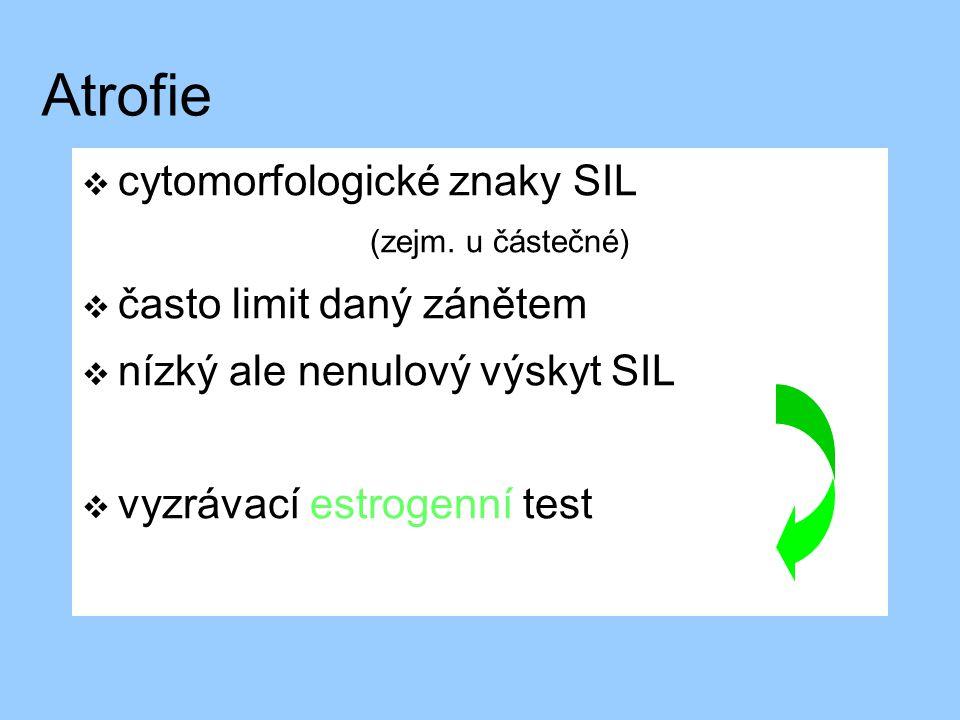 Atrofie  cytomorfologické znaky SIL (zejm. u částečné)  často limit daný zánětem  nízký ale nenulový výskyt SIL  vyzrávací estrogenní test