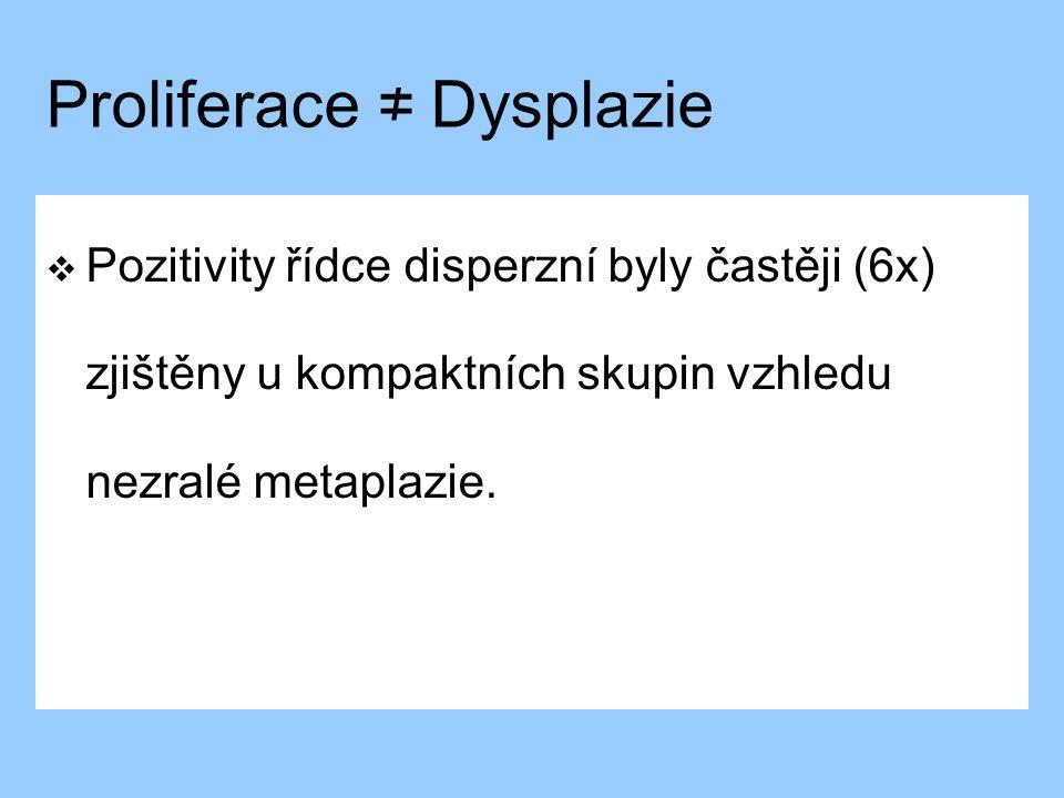 Proliferace ≠ Dysplazie  Pozitivity řídce disperzní byly častěji (6x) zjištěny u kompaktních skupin vzhledu nezralé metaplazie.