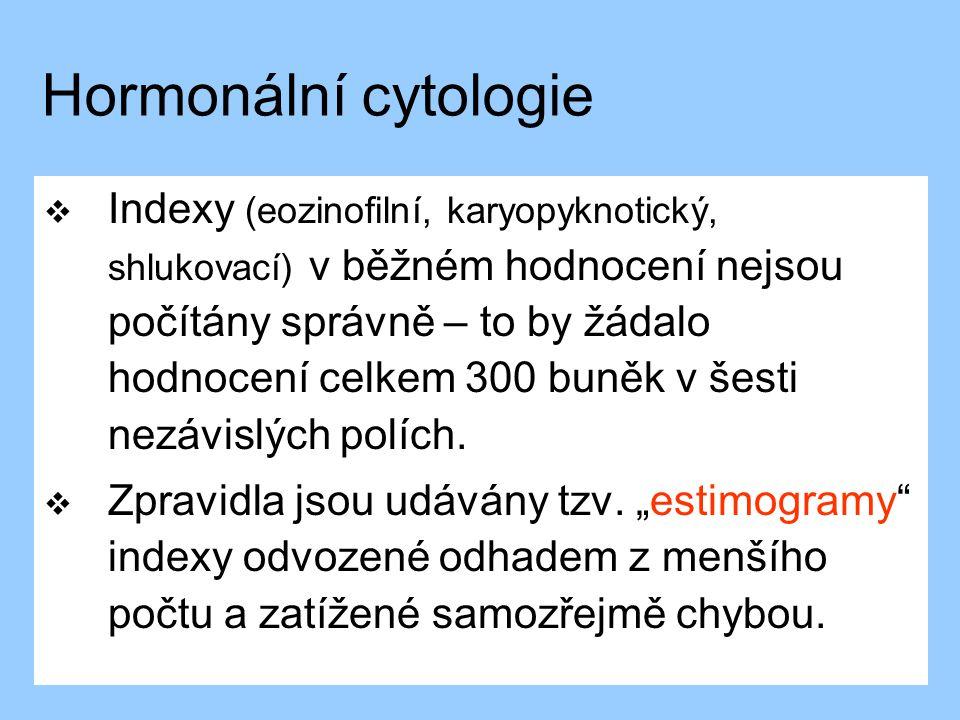 Hormonální cytologie  Indexy (eozinofilní, karyopyknotický, shlukovací) v běžném hodnocení nejsou počítány správně – to by žádalo hodnocení celkem 30