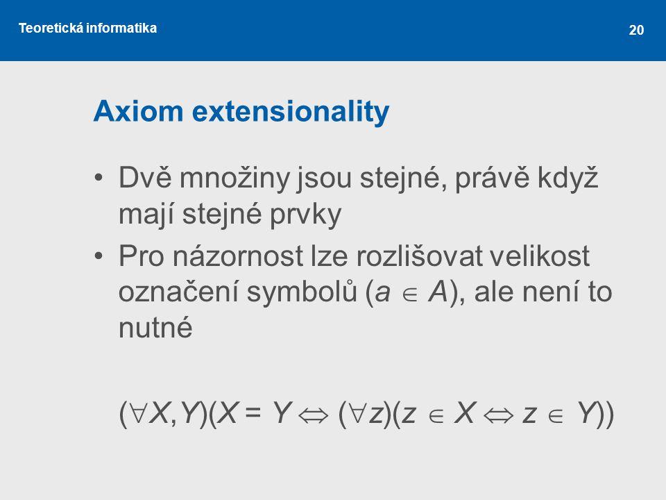 Teoretická informatika 20 Axiom extensionality Dvě množiny jsou stejné, právě když mají stejné prvky Pro názornost lze rozlišovat velikost označení sy