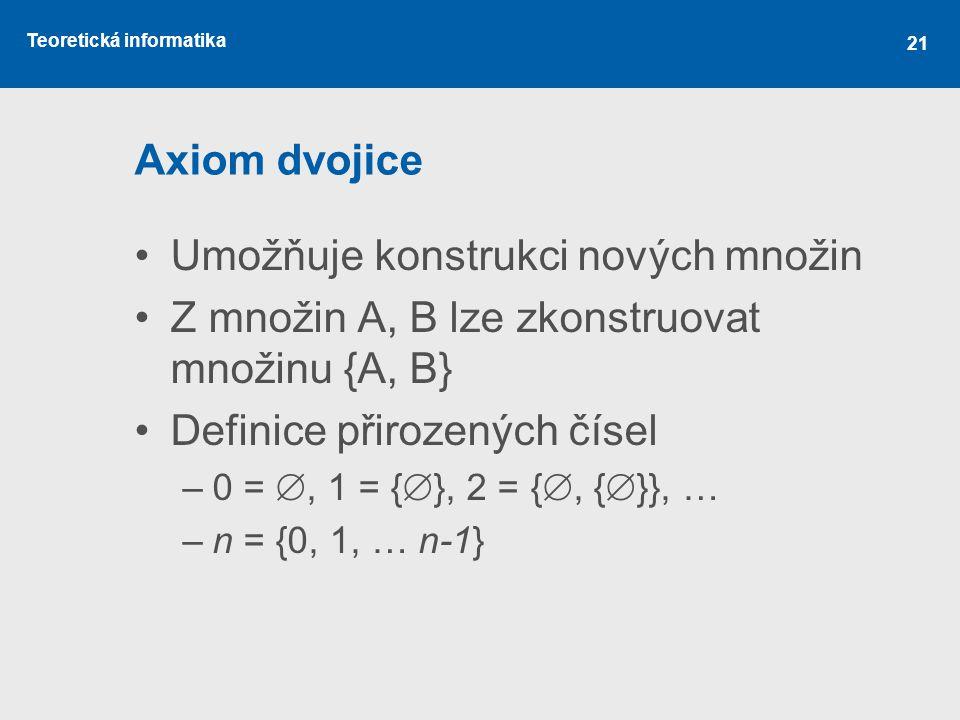 Teoretická informatika 21 Axiom dvojice Umožňuje konstrukci nových množin Z množin A, B lze zkonstruovat množinu {A, B} Definice přirozených čísel –0