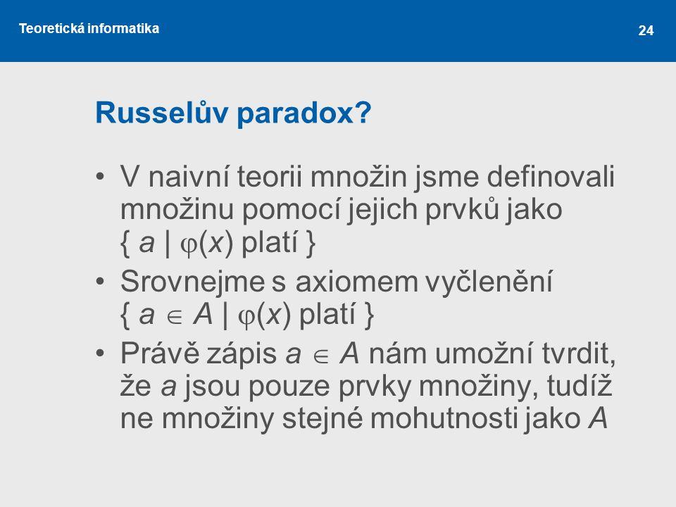 Teoretická informatika 24 Russelův paradox? V naivní teorii množin jsme definovali množinu pomocí jejich prvků jako { a |  (x) platí } Srovnejme s ax