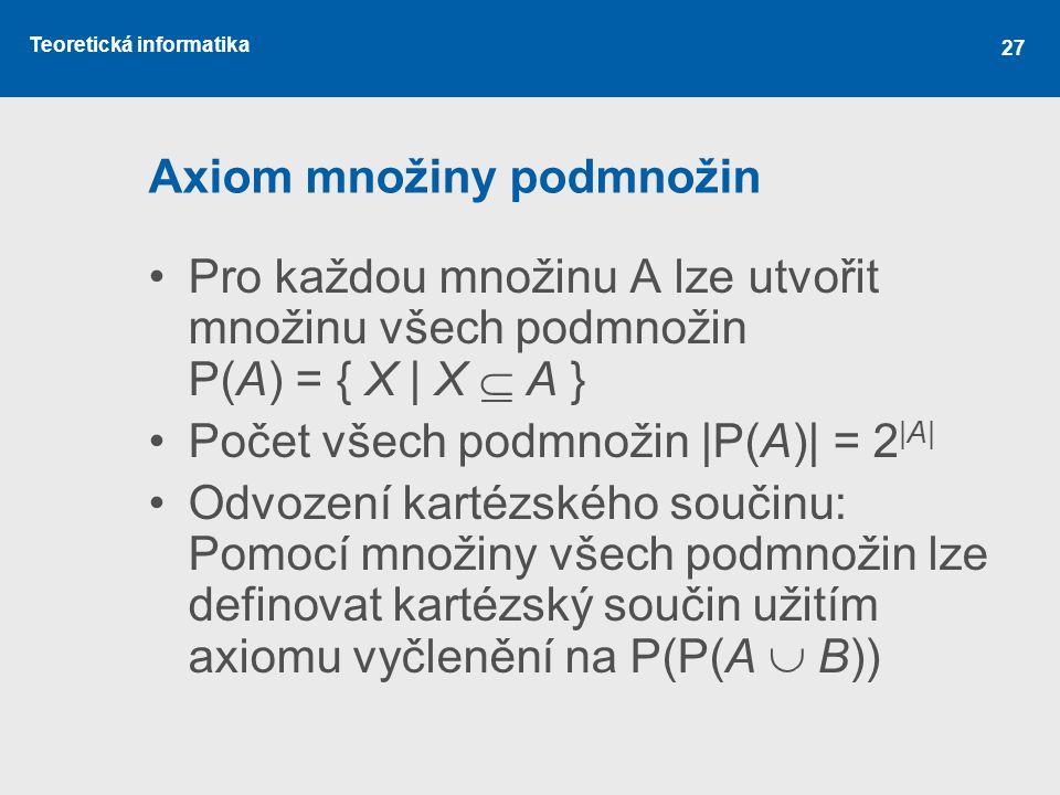 Teoretická informatika 27 Axiom množiny podmnožin Pro každou množinu A lze utvořit množinu všech podmnožin P(A) = { X | X  A } Počet všech podmnožin