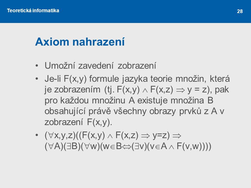 Teoretická informatika 28 Axiom nahrazení Umožní zavedení zobrazení Je-li F(x,y) formule jazyka teorie množin, která je zobrazením (tj. F(x,y)  F(x,z