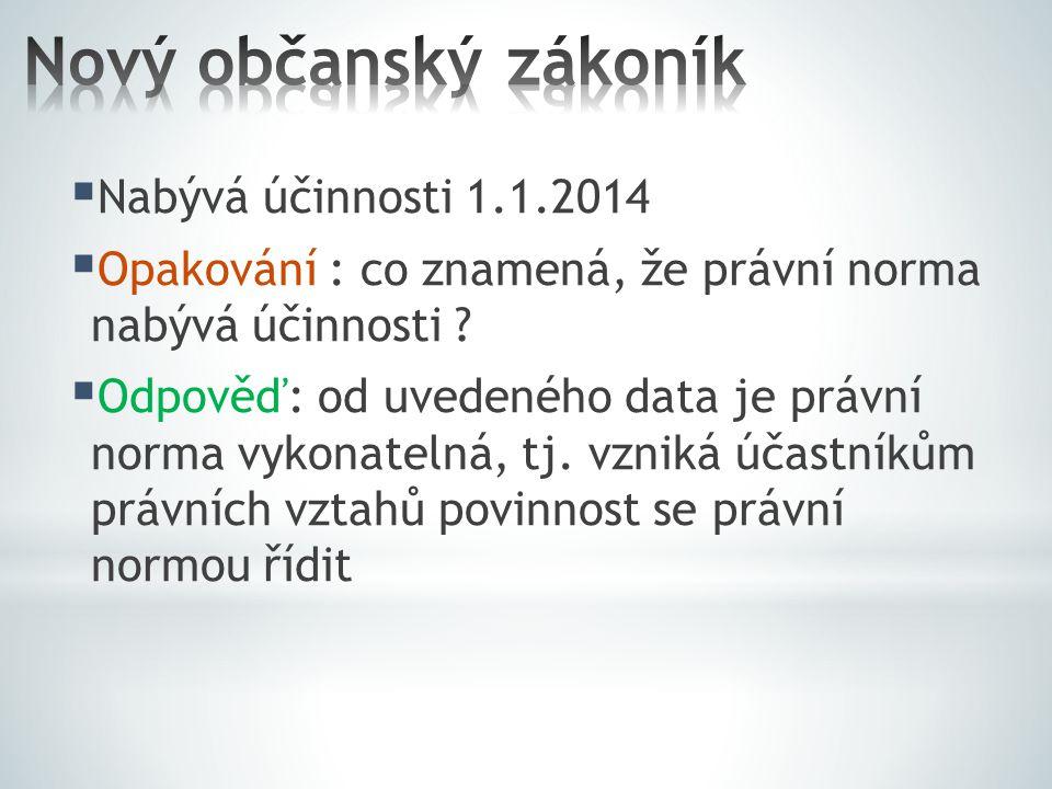  Nabývá účinnosti 1.1.2014  Opakování : co znamená, že právní norma nabývá účinnosti .
