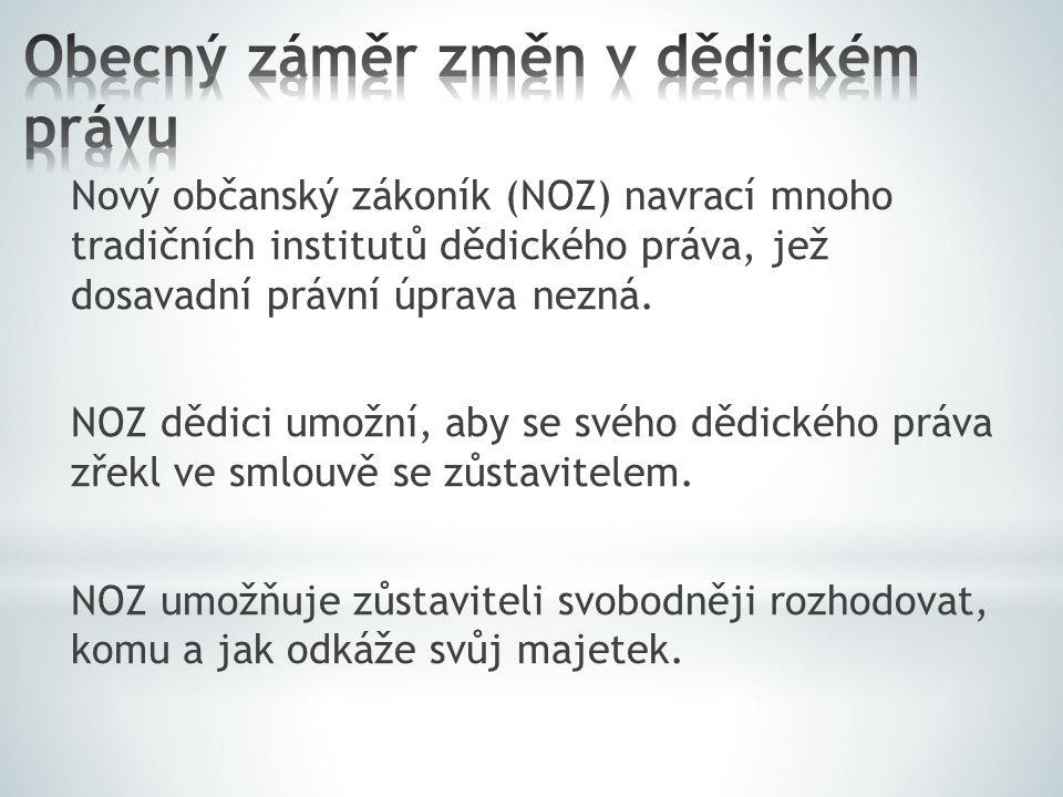 Nový občanský zákoník (NOZ) navrací mnoho tradičních institutů dědického práva, jež dosavadní právní úprava nezná.