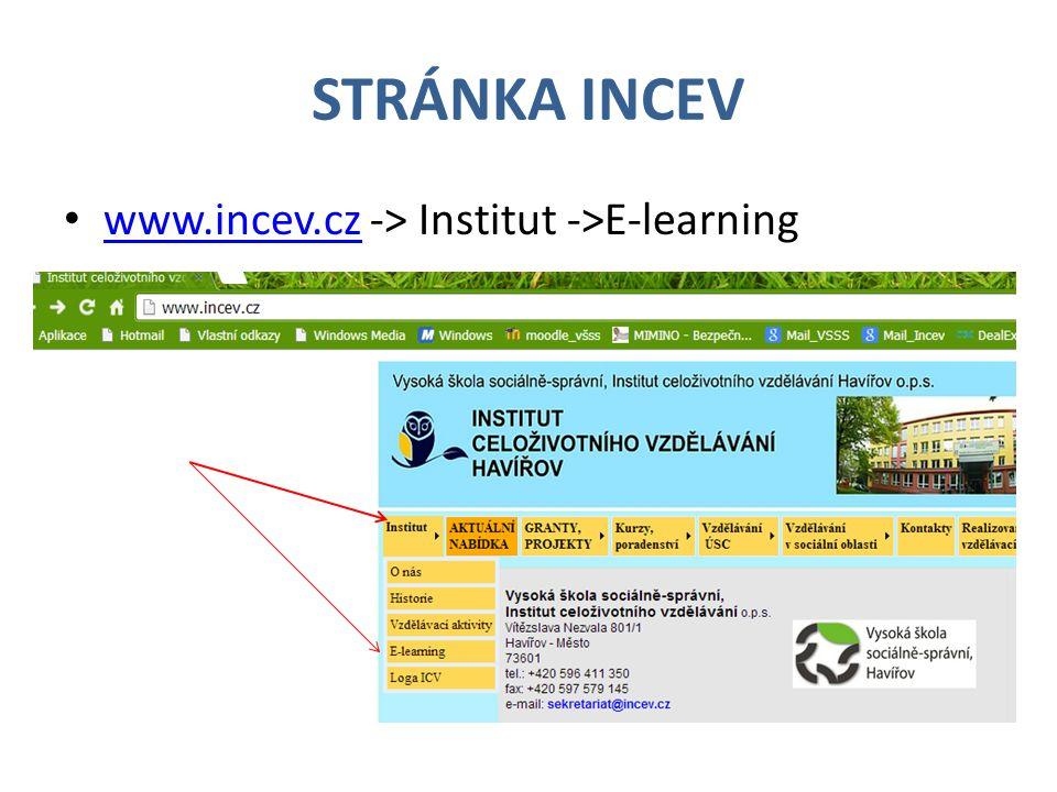 STRÁNKA INCEV www.incev.cz -> Institut ->E-learning www.incev.cz