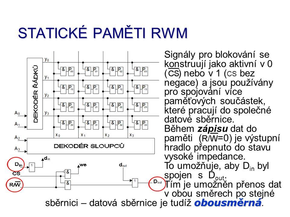 STATICKÉ PAMĚTI RWM Signály pro blokování se konstruují jako aktivní v 0 ( ) nebo v 1 ( CS bez negace) a jsou používány pro spojování více paměťových součástek, které pracují do společné datové sběrnice.