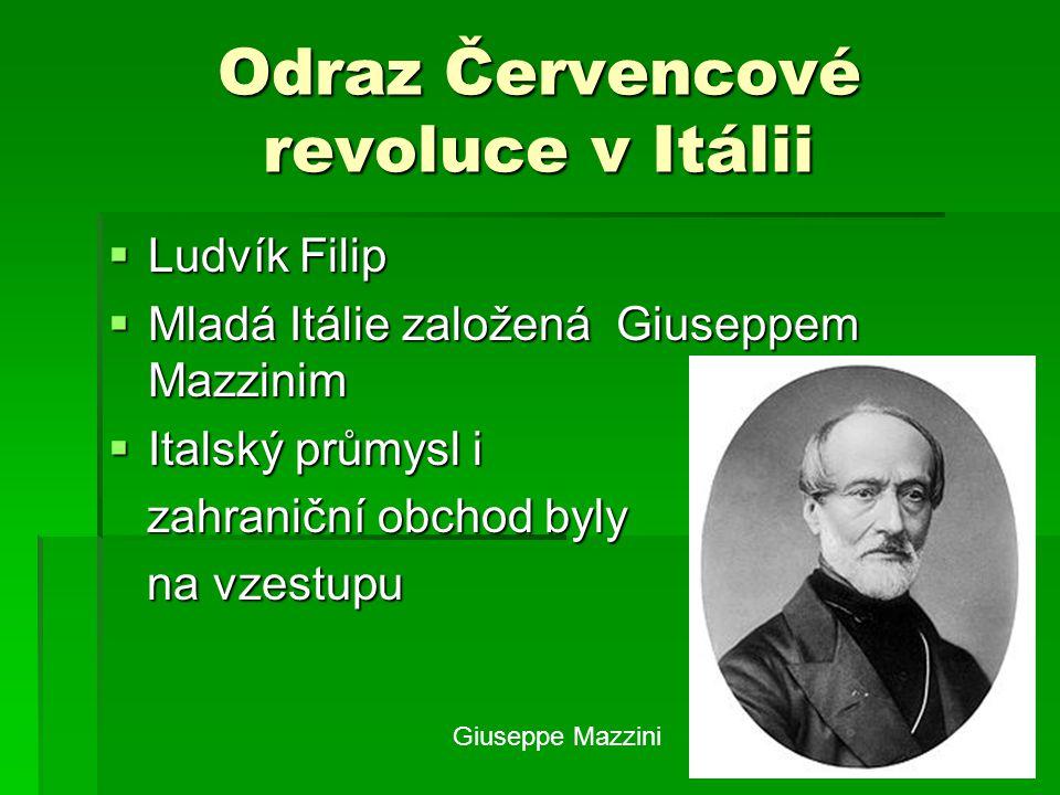 Odraz Červencové revoluce v Itálii  Ludvík Filip  Mladá Itálie založená Giuseppem Mazzinim  Italský průmysl i zahraniční obchod byly zahraniční obc