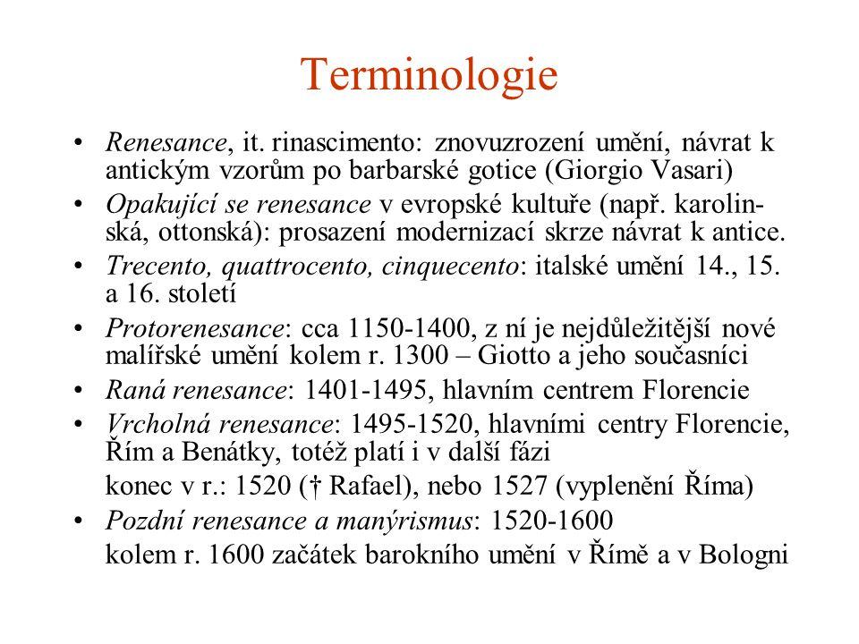 Terminologie Renesance, it. rinascimento: znovuzrození umění, návrat k antickým vzorům po barbarské gotice (Giorgio Vasari) Opakující se renesance v e