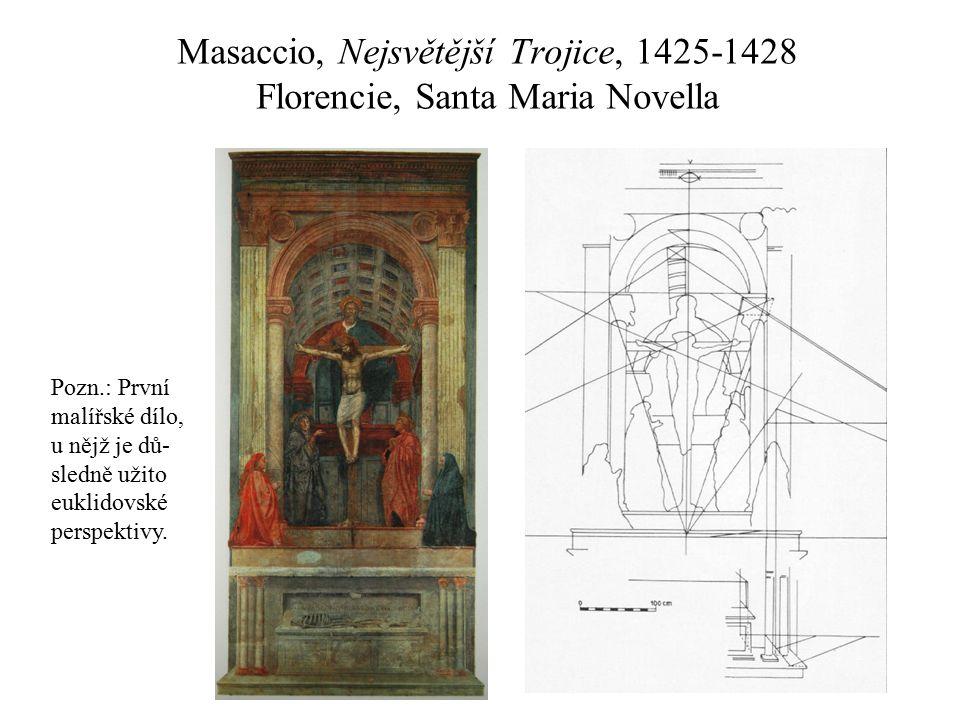 Masaccio, Nejsvětější Trojice, 1425-1428 Florencie, Santa Maria Novella Pozn.: První malířské dílo, u nějž je dů- sledně užito euklidovské perspektivy