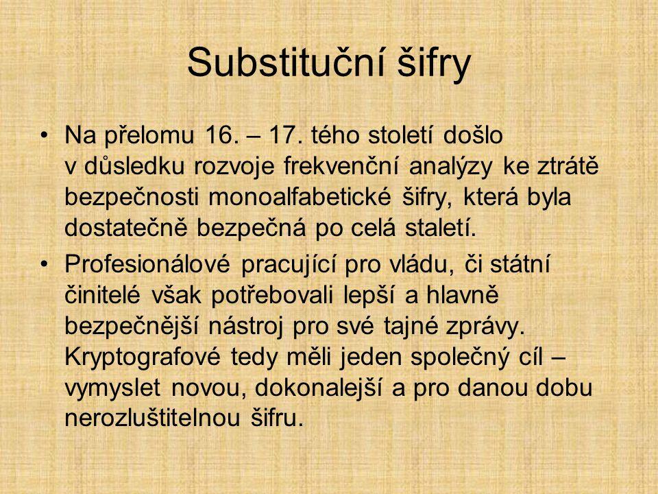 Substituční šifry Na přelomu 16. – 17. tého století došlo v důsledku rozvoje frekvenční analýzy ke ztrátě bezpečnosti monoalfabetické šifry, která byl