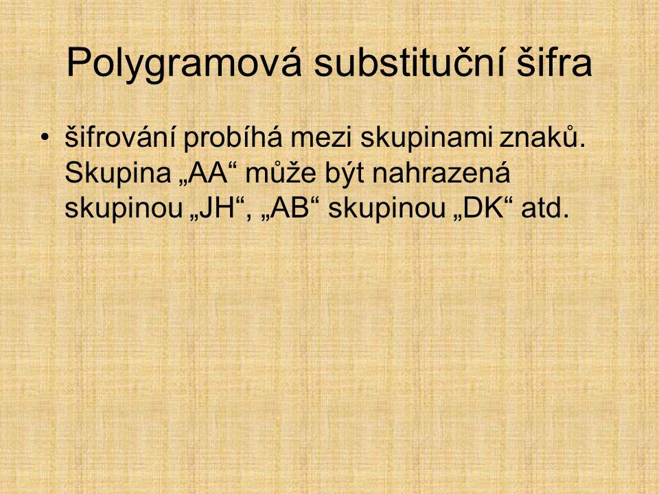 """Polygramová substituční šifra šifrování probíhá mezi skupinami znaků. Skupina """"AA"""" může být nahrazená skupinou """"JH"""", """"AB"""" skupinou """"DK"""" atd."""