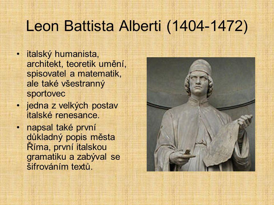 Leon Battista Alberti (1404-1472) italský humanista, architekt, teoretik umění, spisovatel a matematik, ale také všestranný sportovec jedna z velkých