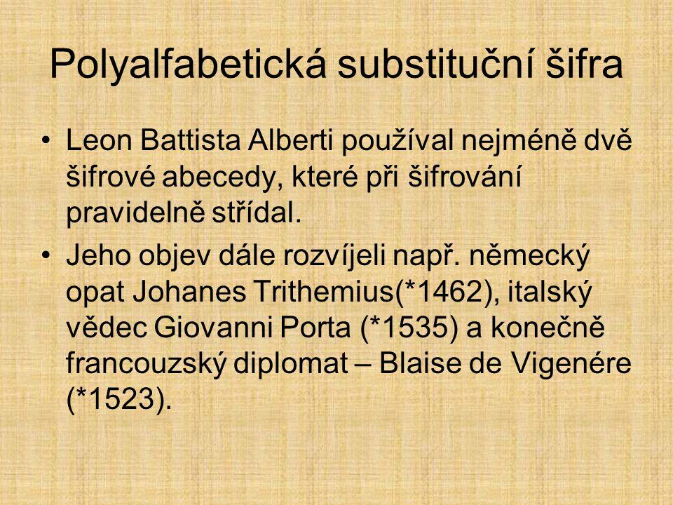 Polyalfabetická substituční šifra Leon Battista Alberti používal nejméně dvě šifrové abecedy, které při šifrování pravidelně střídal. Jeho objev dále