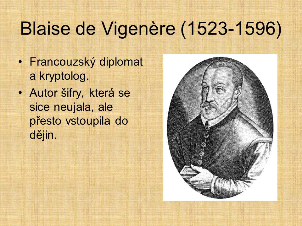 Blaise de Vigenère (1523-1596) Francouzský diplomat a kryptolog. Autor šifry, která se sice neujala, ale přesto vstoupila do dějin.