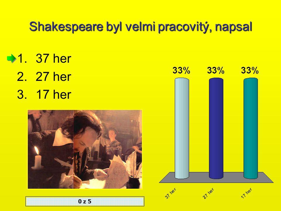 Po vyhoření divadla Globe zamířil Shakespeare 0 z 5 1.Do svého rodiště 2.Do Ameriky 3.Zůstal v Londýně