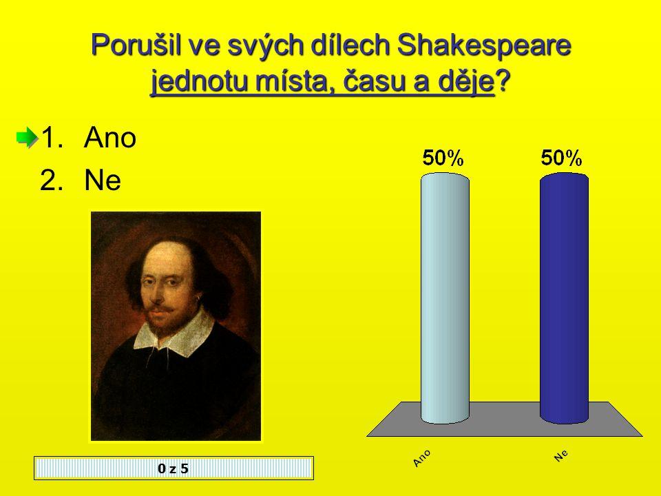Shakespeare byl velmi pracovitý, napsal 0 z 5 1.37 her 2.27 her 3.17 her