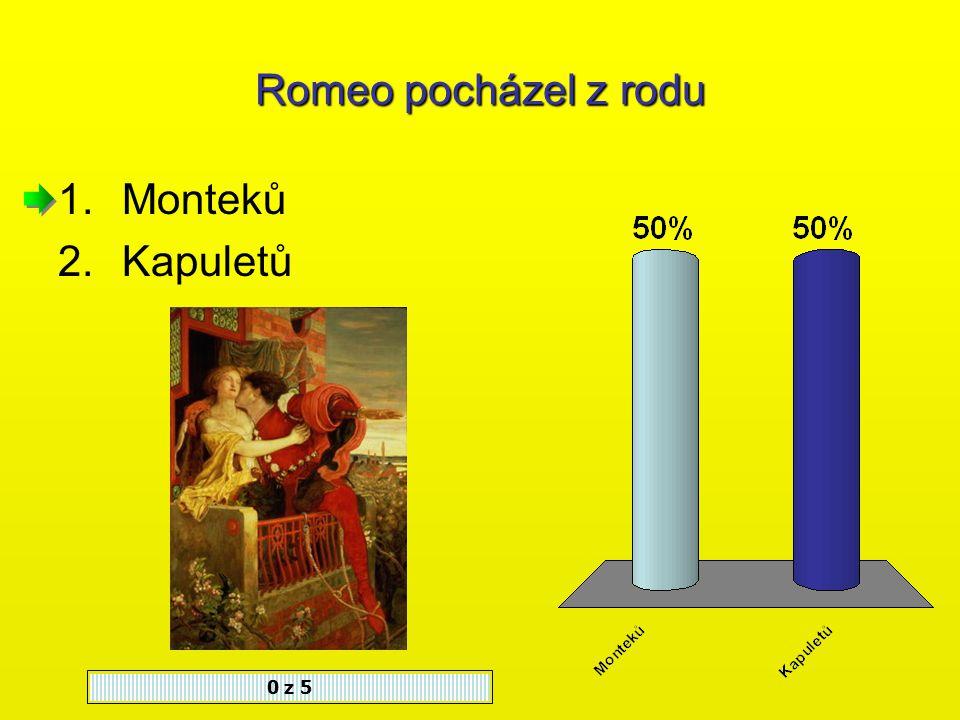 Děj tragédie Romeo a Julie se odehrává 0 z 5 1.Ve francouzské Paříži 2.V italské Raveně 3.V italské Veroně