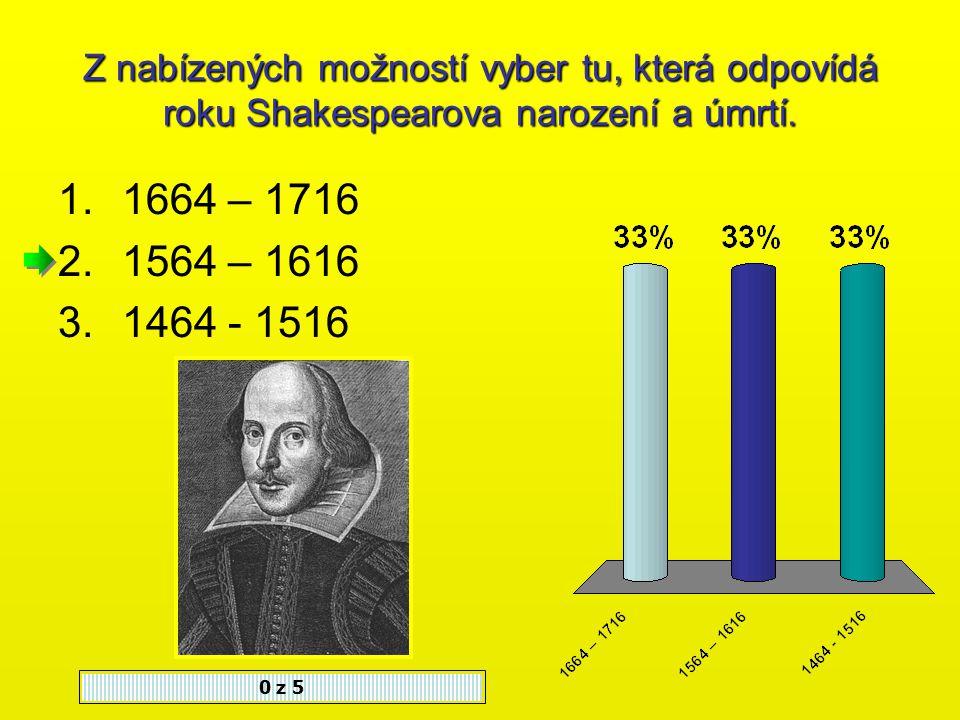 W. Shakespeare se narodil 1.V Londýně 2.Ve Stratfordu 3.V Birminghamu 0 z 5