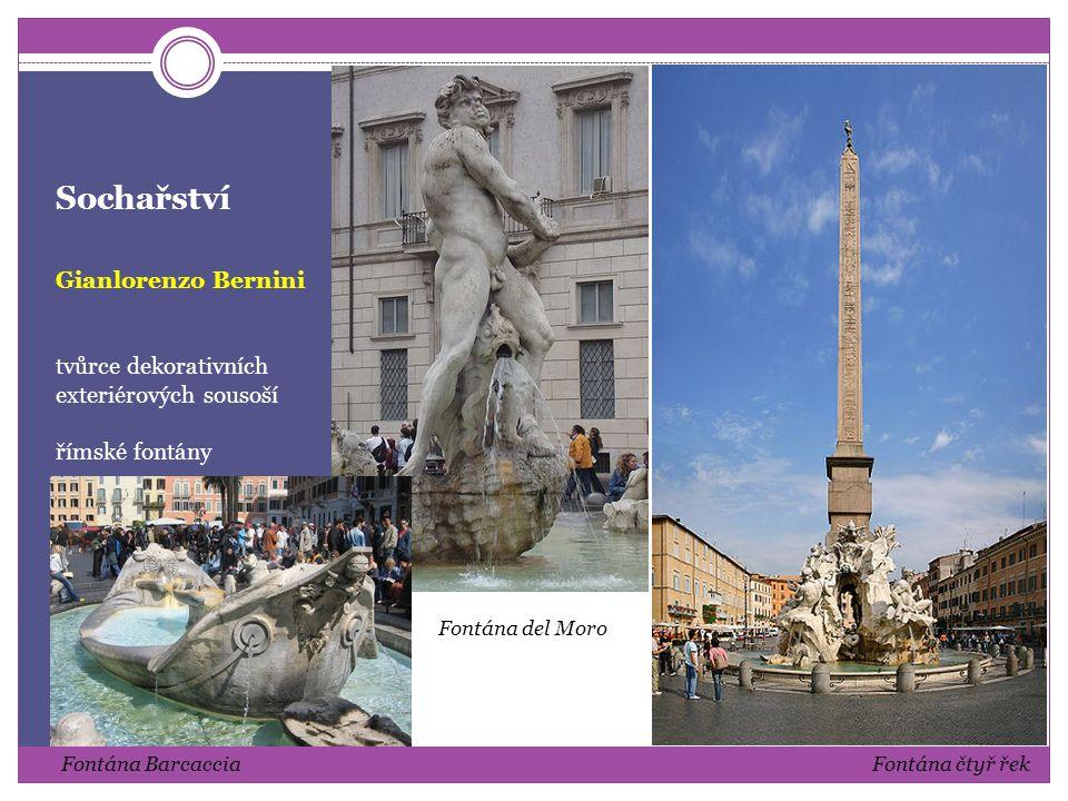 Sochařství Gianlorenzo Bernini autor mnoha portrétních bust, dekorativních a s živým výrazem očí portréty s citovým zaujetím k modelu busta kardinála Richelieu busta Constanze Buonarelli