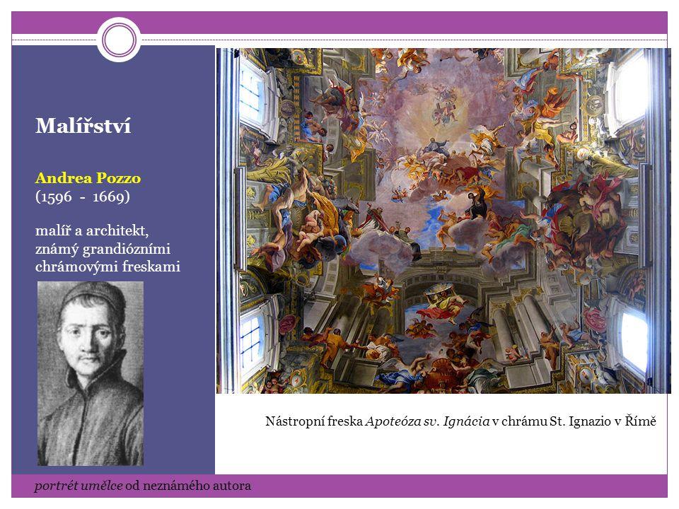 Malířství Giovanni Battista Gaulli (1596 - 1669) malíř a architekt, autor iluzivních staveb a dekorativních fresek Autoportrét Freska Triumf františkánského řádu, kostel sv.
