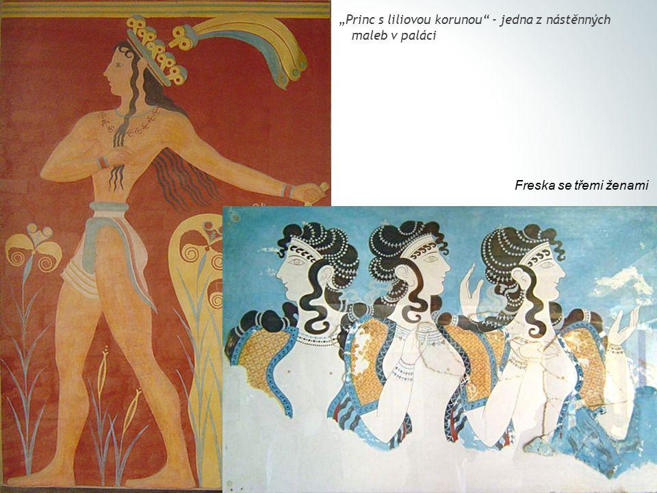 """Princ s liliovou korunou - jedna z nástěnných maleb v paláci Freska se třemi ženami"