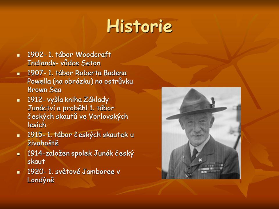Historie 1902- 1. tábor Woodcraft Indiands- vůdce Seton 1902- 1. tábor Woodcraft Indiands- vůdce Seton 1907- 1. tábor Roberta Badena Powella (na obráz