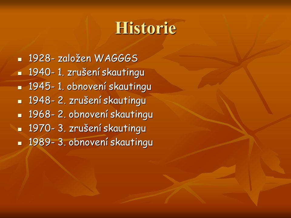 Historie 1928- založen WAGGGS 1928- založen WAGGGS 1940- 1. zrušení skautingu 1940- 1. zrušení skautingu 1945- 1. obnovení skautingu 1945- 1. obnovení