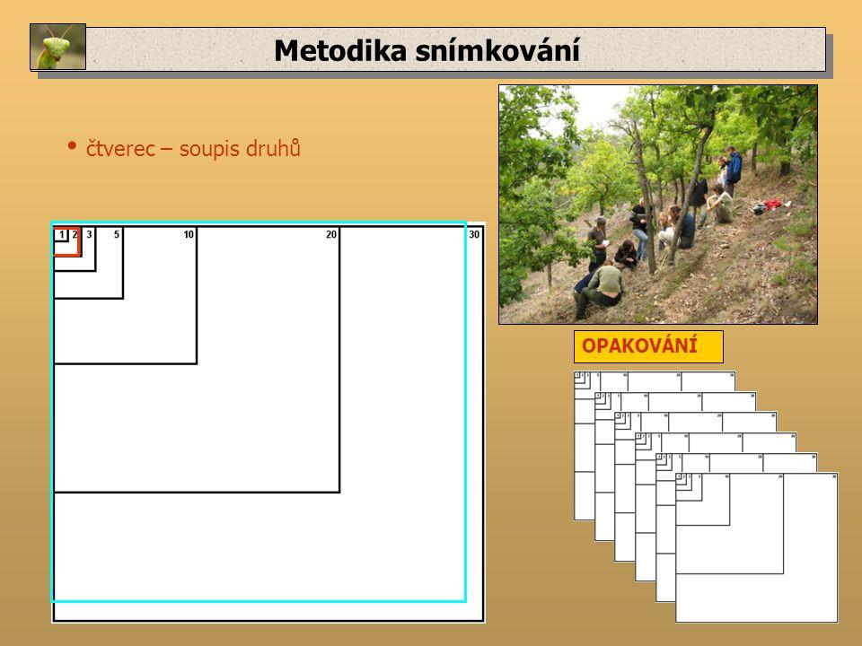 Metodika snímkování čtverec – soupis druhů OPAKOVÁNÍ
