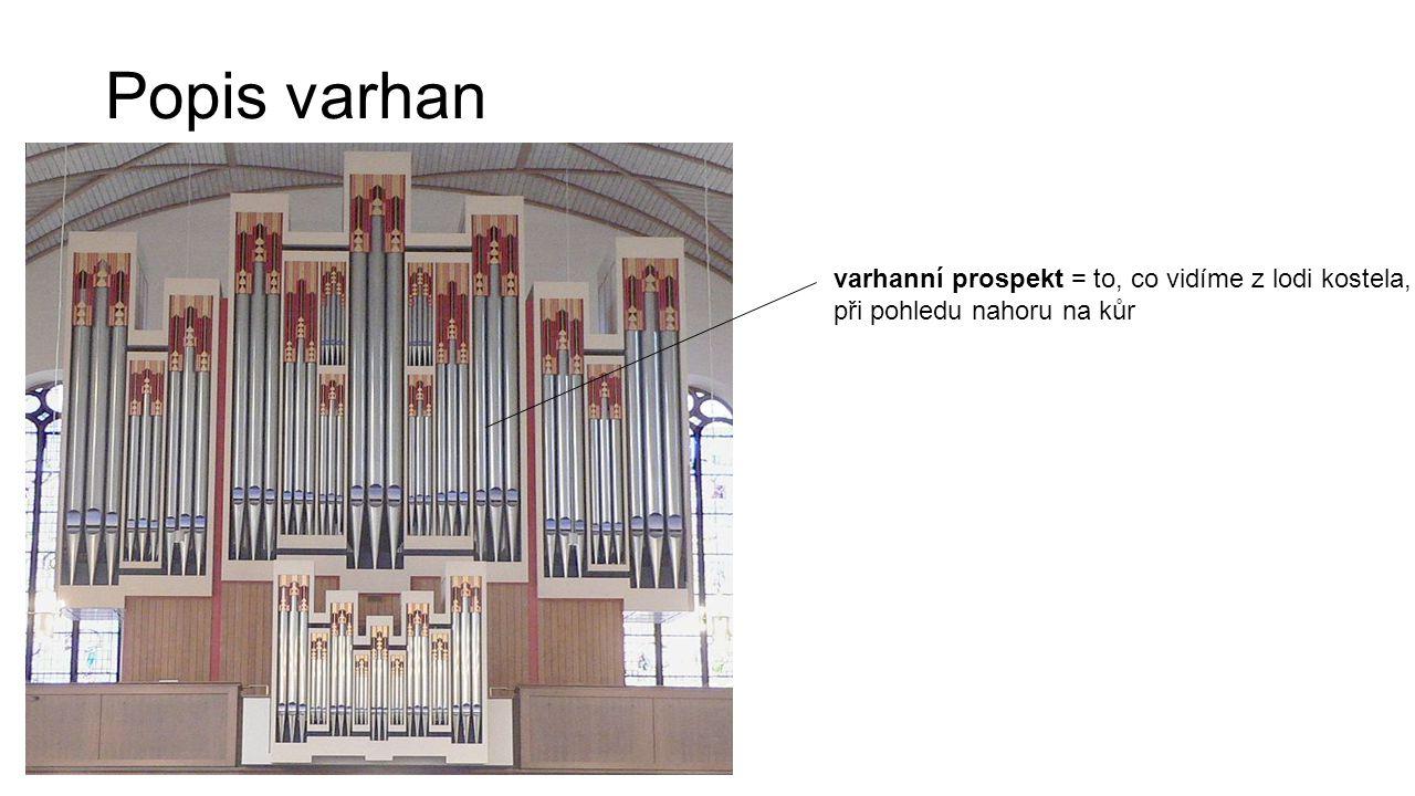 Popis varhan varhanní prospekt = to, co vidíme z lodi kostela, při pohledu nahoru na kůr