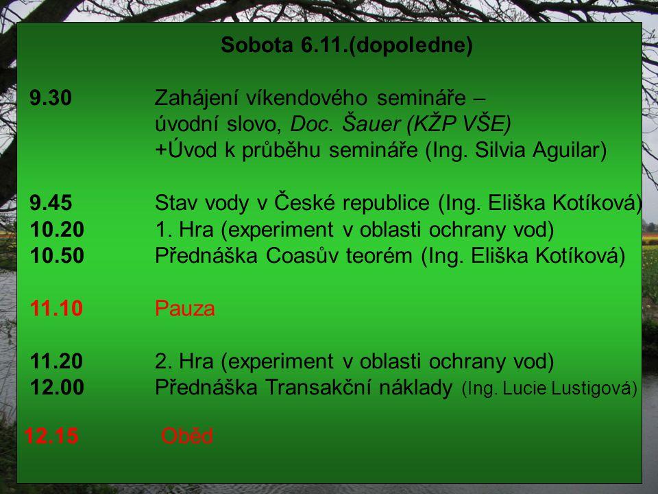Sobota 6.11.(dopoledne) 9.30 Zahájení víkendového semináře – úvodní slovo, Doc. Šauer (KŽP VŠE) +Úvod k průběhu semináře (Ing. Silvia Aguilar) 9.45 St