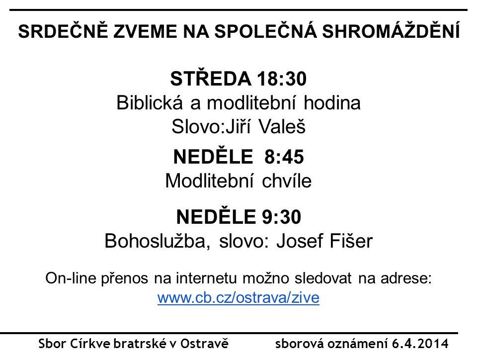 Sbor Církve bratrské v Ostravě sborová oznámení 6.