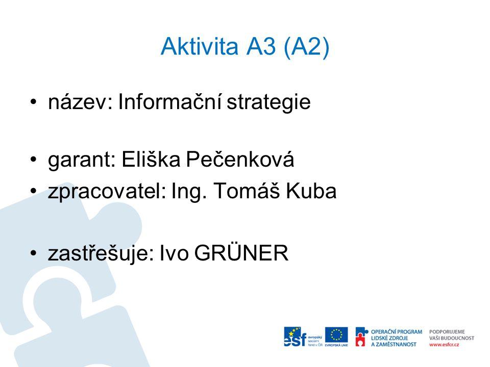 Aktivita A3 (A2) název: Informační strategie garant: Eliška Pečenková zpracovatel: Ing. Tomáš Kuba zastřešuje: Ivo GRÜNER