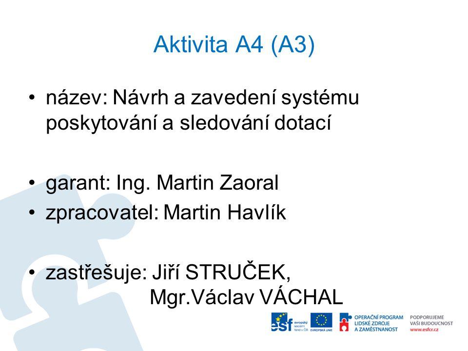 Aktivita A4 (A3) název: Návrh a zavedení systému poskytování a sledování dotací garant: Ing. Martin Zaoral zpracovatel: Martin Havlík zastřešuje: Jiří