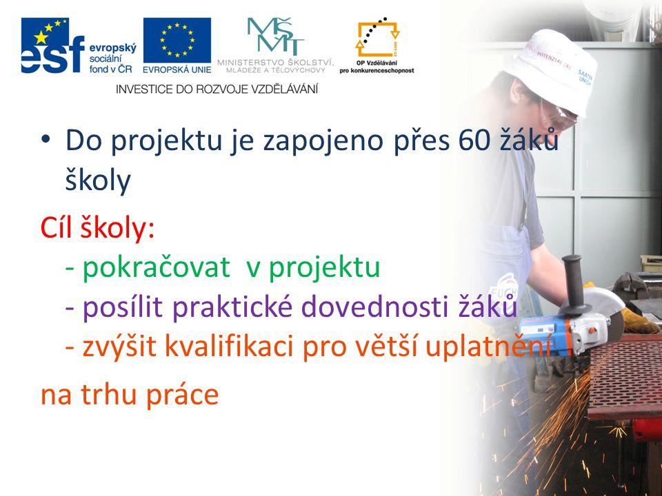 Do projektu je zapojeno přes 60 žáků školy Cíl školy: - pokračovat v projektu - posílit praktické dovednosti žáků - zvýšit kvalifikaci pro větší uplatnění na trhu práce