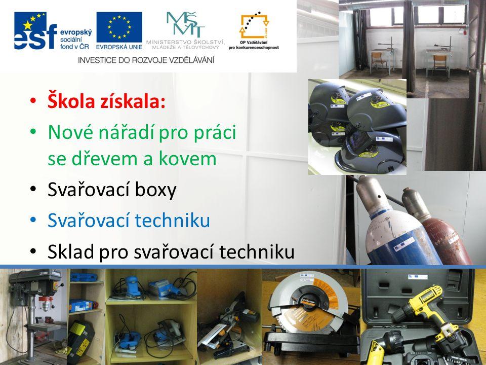 Škola získala: Nové nářadí pro práci se dřevem a kovem Svařovací boxy Svařovací techniku Sklad pro svařovací techniku