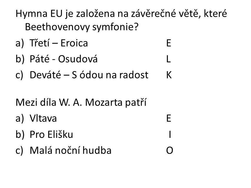 Hymna EU je založena na závěrečné větě, které Beethovenovy symfonie.