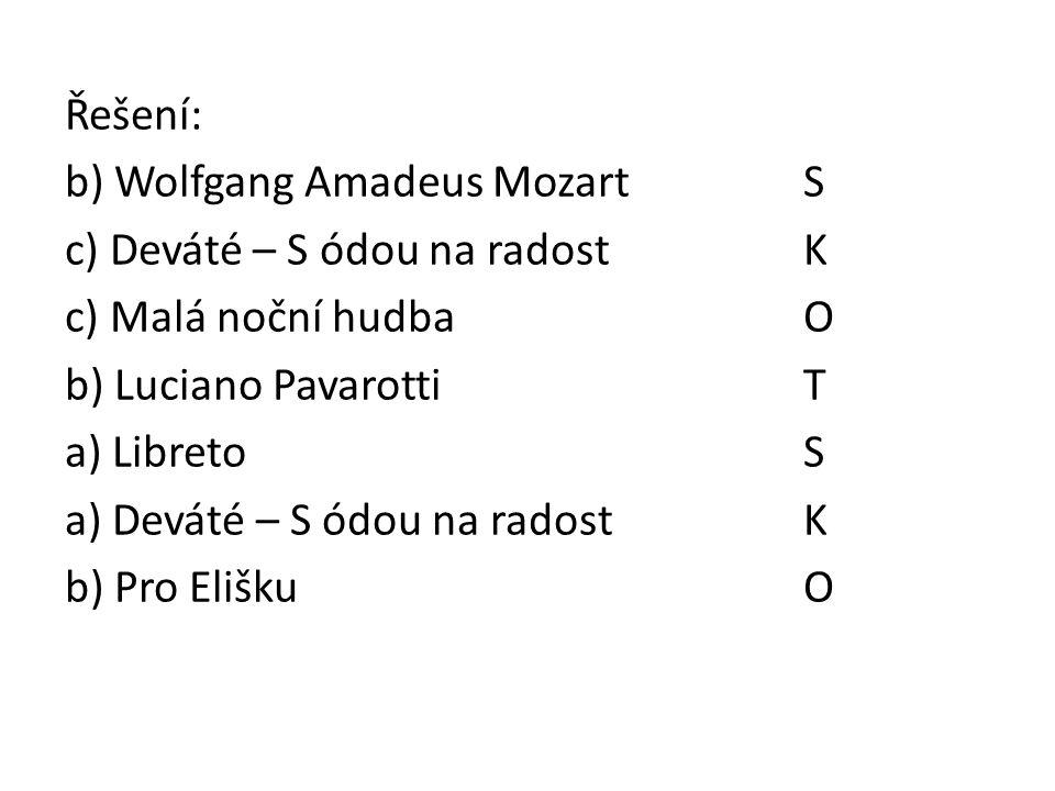 Řešení: b) Wolfgang Amadeus MozartS c) Deváté – S ódou na radostK c) Malá noční hudba O b) Luciano Pavarotti T a) LibretoS a) Deváté – S ódou na radost K b) Pro EliškuO